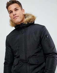 Read more about French connection faux fur hood flight jacket - black
