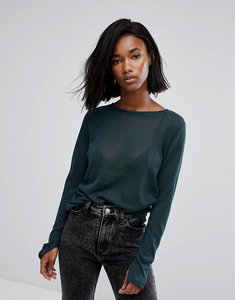 Read more about Noisy may knitted crew neck jumper - green