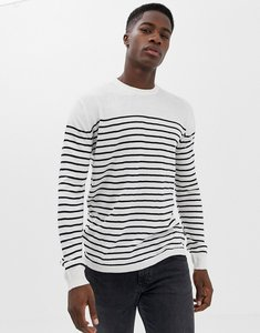 Read more about French connection breton stripe crew neck jumper - ecru