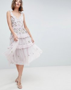 Read more about Needle thread layered midi dress with embellishment - lilac