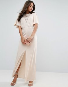 Read more about Asos kimono sleeve with lace insert maxi dress - nude