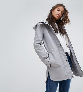 Read more about Asos tall premium raincoat with borg liner - grey