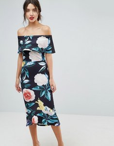 Read more about True violet bardot pephem midi dress in bold floral print - black floral