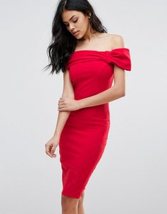 Read more about City goddess bardot midi dress with bow detail - red