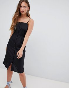 Read more about Prettylittlething button front midi dress - black