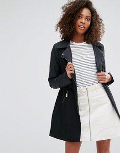 Read more about Brave soul wool mix biker coat - black