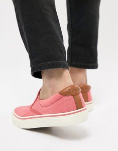 Read more about Polo ralph lauren thompson 2 pique slip on plimsolls leather trims in pink - hyannis red