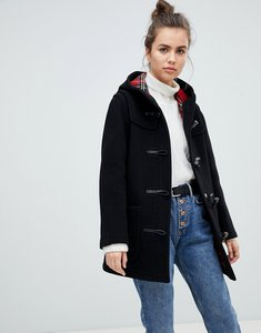 Read more about Gloverall mid length duffle coat - black with tartan