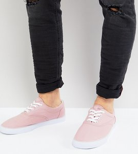 Read more about Asos wide fit lace up plimsolls in pink canvas - pink
