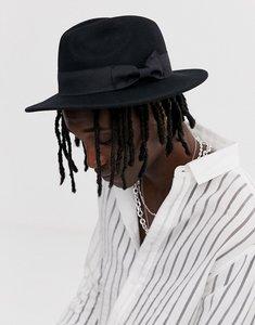 77215560f59 asos felt fedora hat with wide band and stitch edge black - Shop ...
