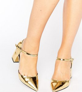 Read more about Asos soraya wide fit pointed heels - gold