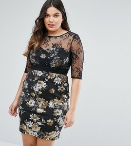 Read more about Little mistress plus floral pencil dress with mesh sleeves - black