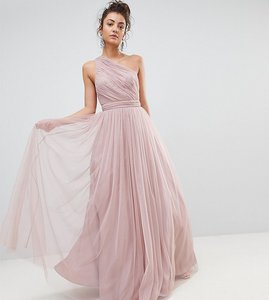 Read more about Asos tall premium tulle one shoulder maxi dress - mink
