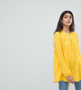 Read more about Glamorous tall relaxed smock top with tie cuffs in ditsy floral - yellow floral