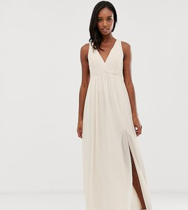 Read more about Tfnc tall bridesmaid exclusive pleated maxi dress with back detail in pink