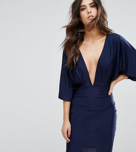 Read more about Naanaa plunge front mini dress with kimono sleeve - navy