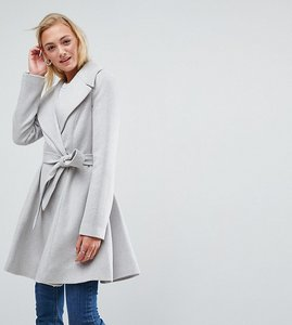 Read more about Asos tall skater coat with self belt and oversized collar - grey