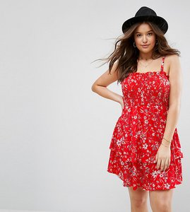 Read more about Asos curve shirred mini sundress with tiered skirt in red ditsy print - print