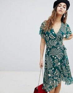 Read more about Soaked in luxury printed wrap ruffle dress - storm green