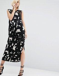 Read more about Asos white silk blend animal devore column dress - multi