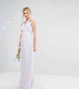 Read more about Tfnc tall wedding wrap front maxi dress with embellishment - lilac