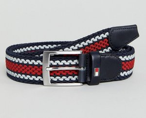 Read more about Tommy hilfiger adan icon stripe web belt in red white blue - corporate colours
