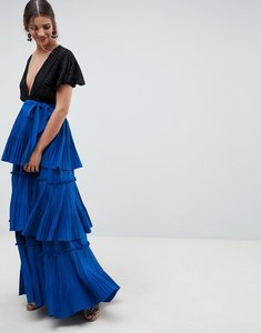 Read more about Asos design premium tiered pleated maxi skirt - cobalt