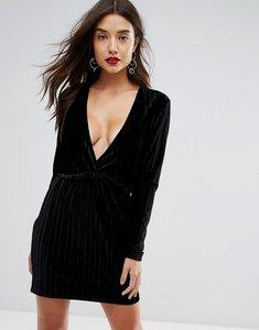 Read more about Ivyrevel deep v pleated velvet mini dress - black