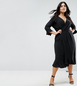 Read more about Asos curve wrap front midi dress with frill detail - black