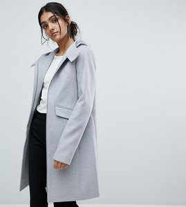 Read more about Asos tall hooded slim coat with zip front - grey