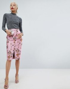 Read more about Asos floral jacquard pencil skirt with front split - multi