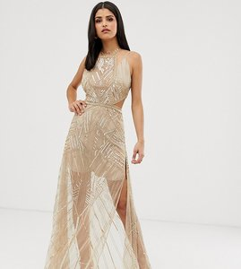 Read more about Asos design tall maxi dress with geometric embellishment and sheer panels