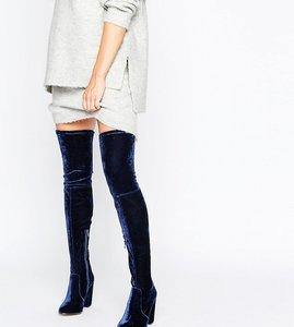 Read more about Asos kingdom velvet heeled over the knee boots - navy velvet