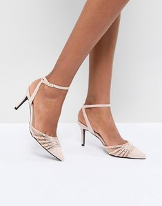 Read more about True decadence blush embellished pointed mid heeled court shoes - blush