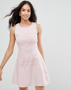 Read more about Ax paris pink lace waist skater dress - pink
