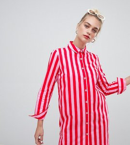 Read more about Daisy street oversized shirt dress in bold stripe - pink and red stripe