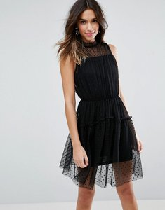 Read more about Asos dobby skater mini dress with strap back - black