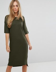 Read more about Selected ribbed midi dress - green