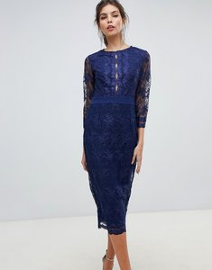 Read more about Little mistress sheer mid length sleeve embroidered mesh pencil dress with scallop edging ves