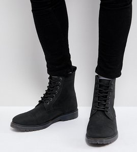 Read more about Asos wide fit lace up boots in black leather with ribbed sole - black