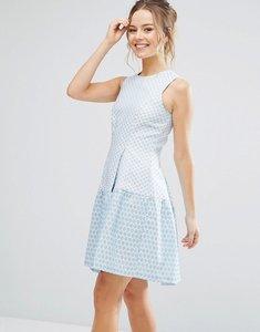 Read more about Closet london colour block skater dress - pale blue