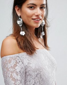 Read more about Johnny loves rosie sequin rhinestone flower statement drop earrings - silver