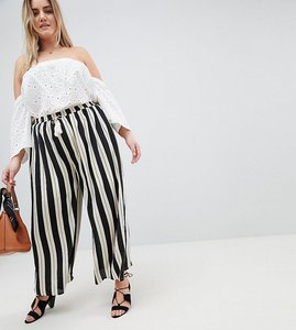 Read more about Glamorous curve relaxed trousers with tassle tie in stripe - black stripe