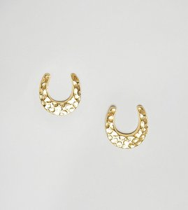 Read more about Asos design gold plated sterling silver stud earrings in horse shoe design - gold