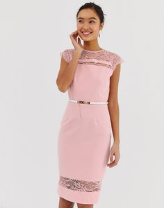 Read more about Paper dolls lace detail midi dress with belt in white