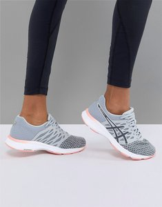 Read more about Asics running gel exalt trainers in grey and pink - multi