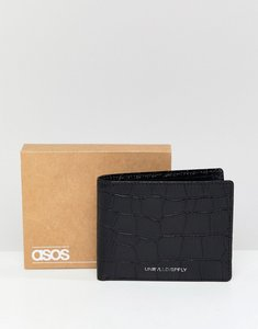 Read more about Asos design leather bifold wallet in black with croc emboss and foil logo - black