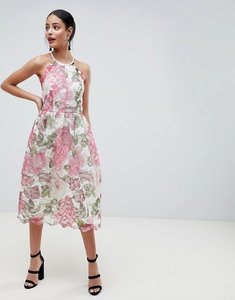 Read more about Asos design pinny prom midi dress in floral lace - floral lace