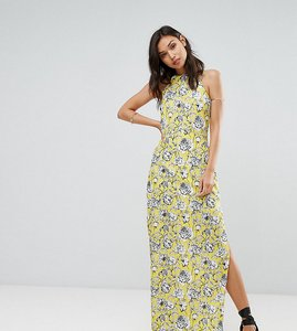 Read more about Missguided halterneck floral print maxi dress - yellow