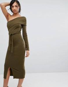 Read more about Lavish alice double layer one shoulder rib knit midi dress in khaki - green